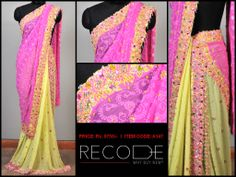 A half-and-half saree with colors that will never leave your mind! www.facebook.com/Fashion.Recode
