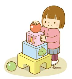 She likes to build things with her blocks. Clipart Baby, Cute Clipart, Play School Activities, Micro Creche, Kindergarten, Cartoon Kids, Diy For Kids, Cute Pictures, Preschool