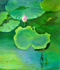 Roos, waterlillyleafs. Artist at art studio Moes