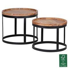 FineBuy 2er Set Beistelltische Massivholz Akazie Wohnzimmer Tisch Landhaus Stil Anstelltisch Metallgestell Natur