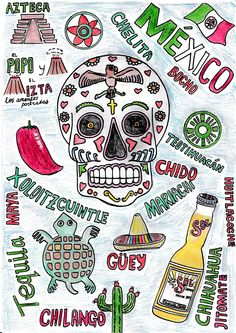 "A4 hand-drawn collage of a skull (inspired by the Mexican ""Día de los Muertos"" [Day of the Dead] celebrations) and other symbols and words strongly associated with Mexico and its culture past and present. Materials used: colouring pencils and fine liner pens. #illustration #drawing #art #artwork #skull"