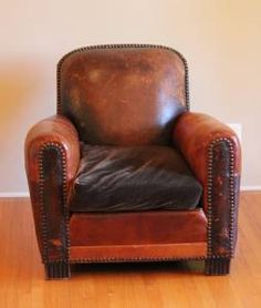 1920's French Club leather chair Art Deco