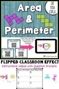 FREEBIE! Instructional videos with question prompts linked to QR codes. Have your students scan the QR code to watch a quick tutorial about the basics of area perimeter. They will record their answer to the question prompt on a recording sheet. Answer key and instruction sheet are included. Click to read more!
