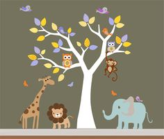 Kids Safari Nursery Jungle Wall Decal- Tree,Monkey,Elephant,Giraffe Wall Decals