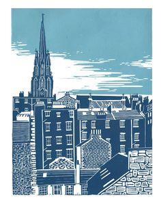 Original Linocut Print - Old Town, Edinburgh, Scotland by Maria Doyle