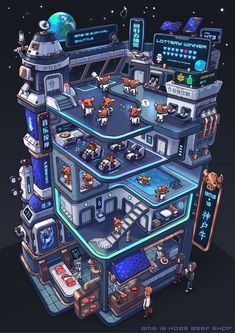 Kobe Beef Shop by Bangzheng Du Isometric Art, Isometric Design, Art Isométrique, Pixel Art, Game Art, Game Design, Design Art, Kobe Beef, Environment Concept