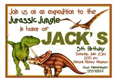 free printable invite dinosaur party Pinterest Free printable