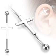 """Amazon.com: Industrial bar 316L Surgical 14g 38mm-1-1/2"""" Industrial Barbell Cross: Jewelry"""