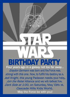 Star Wars Birthday Invitation by GrayciousDesigns on Etsy