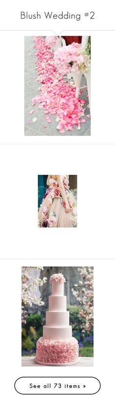 """""""Blush Wedding #2"""" by sunflower1999 ❤ liked on Polyvore featuring backgrounds, flowers, photos, pictures, pink, food, wedding, cakes, weddings and dresses"""