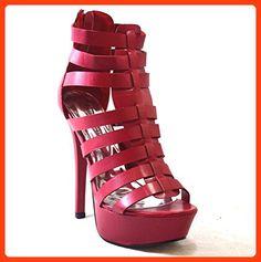 bf2785e39aa2 Women s Pierre Dumas Calista-1 Red Strappy Platform Heels Size 6 ( Partner  Link)