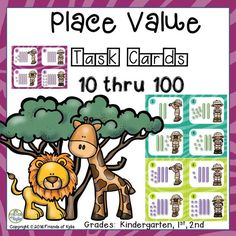 Place Value Task Cards Bundle from 10-100. Recording sheet included. Great for math centers, small and large groups. Grades: Kindergarten, 1st, 2nd.
