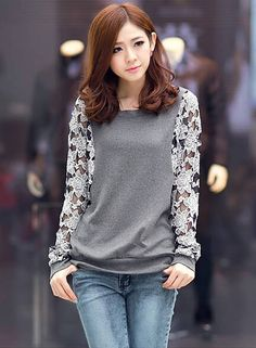 shop for Women Elegant Slim Lace Round Neck Long Sleeve T Shirt and more for everyday cheap prices at Lalalilo.com - Your Online Womens Clothes Store