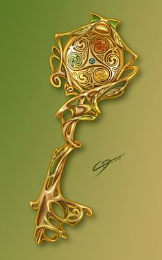 Chiave di Gaia by RuaCharl. on - Wooden Artifacts Magia Elemental, Elemental Magic, Anime Weapons, Fantasy Weapons, Fantasy Story, Fantasy Art, Espada Anime, Key Drawings, Keys Art