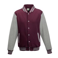 Just Hoods JH043 Burgundy and Heather Grey Varsity Jacket - £19.35
