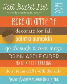 Fun fall bucket list printable. This post includes links to the recipes and projects that my kids and I haveare planned for the fall. www.daisycottagedesigns.net