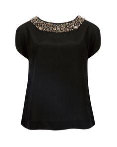 EMBELLISHED NECKLINE TOP - Black   Tops & T-shirts   Ted Baker