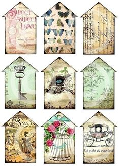 sweet house-shaped tags for my scrapbook <3