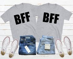 Bff Shirt, Matching Bff, Bff Tees, Bestie Shirt, Cute Best Friend Shirt, Bff Shirt Set, Gift For Bff, Twin Sisters Shirt, Best Friend Gifts Bff Shirts, Bff Sweatshirts, Hoodies, Presents For Best Friends, Presents For Boyfriend, Best Friend Gifts, Boyfriend Birthday, Unisex Fashion, Friends Forever