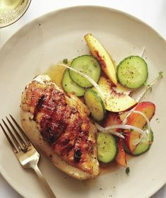 Grilled Chicken Breasts With Peach and Cucumber Salad from realsimple.com #myplate #protein
