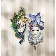 Venetian Italian Art Peacock Butterfly Masquerade Wall Mask Sculpture Set of 2 | eBay