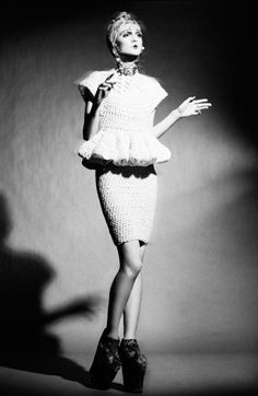 the silhouettes of Bosnian designer Lamija Suljevic's autumn/winter collection. Stockholm Fashion Week, Big Knits, White Fashion, Dress Making, Editorial Fashion, Designer, Peplum Dress, Knitwear, Ready To Wear