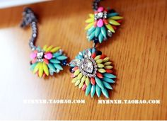 Bright Gem Rainbow statement necklace. Matching rings, bracelet and bag available
