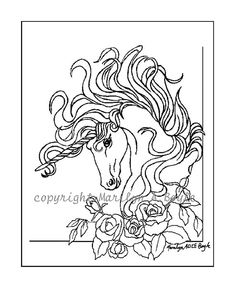 DIGITAL - UNICORN - Coloring page or POSTER: drawing, ink, coloring book, poster, unicorn, fantasy, roses, flowers,
