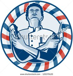 Illustration of an african american barber with arms crossed holding a hair clipper and a pair of scissors with circular barber's  pole on isolated white background. - stock vector #barber #retro #illustration