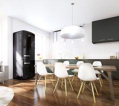 Industriële keuken met zwarte Pelgrim koelkast