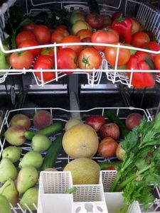 Tip: Use Your Dishwasher to Wash Produce.... use only the cold rise cycle without detergent. this method helps save lots of water and works great.