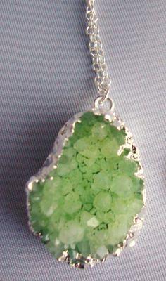 Light Green Druzy / Drusy Sterling Silver