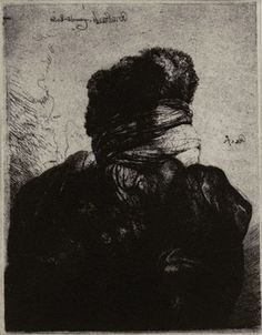 GLENN BROWN, Layered Portrait (after Rembrandt) 7, (2008), Etching on paper, Velin Arches 300gsm, 14 x 11 3/8″