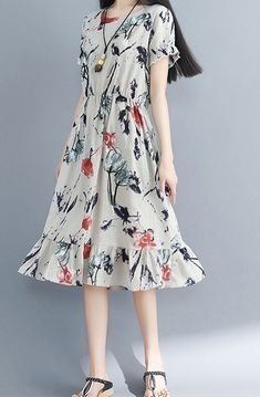 Women loose fit dress retro flower skater skirt short sleeve large size tunic Source by lilialara dress casual Summer Dress Outfits, Casual Summer Dresses, Summer Dresses For Women, Dress Casual, Dress Summer, Flower Dresses, Women's Dresses, Fashion Dresses, Fashion Shoes