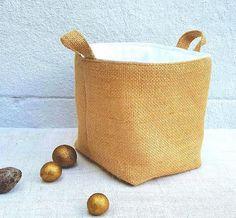 LUXURY HESSIAN BAG Pure White Organic Cotton Canvas Soft Touch Reversible Padded Jute Burlap Storage Handmade Fabric Birthday Christmas Gift