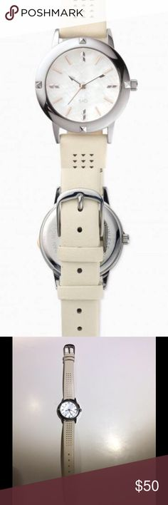 """Stella & Dot Watch Style on the Dot. You don't have to be late to be fashionable with this versatile and chic time piece. Stainless bezel.  Mother-of-pearl watch face with stainless steel buckle.  Made with a high quality Quartz movement, which provides accuracy within seconds per month.  8 1/2"""" total length, 1 1/10"""" watch face diameter.  Fits SM-LG wrists. Stella & Dot Jewelry"""