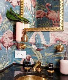 Upper West Side statement powder room with gold accents and flamingo wallpaper by Allison Garcy Inte Flamingo Bathroom, Tropical Bathroom, Bathroom Spa, Downstairs Bathroom, Bathroom Interior, Bathroom Plants, Master Bathroom, Shiplap Bathroom, Flamingo Art
