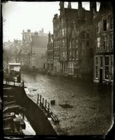 Amsterdam Oude Schans 1863, no cars parked along the canals