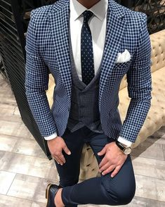 Navy blue checkered suit for men