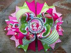 Strawberry Shortcake 5 Inch Stacked Boutique Bow/ by BethsAddABow, $6.99