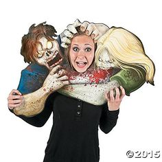 "Zombies Photo Prop 31"" x 20"" with a 7"" x 9 1/4"" face cutout Fun Halloween Party 1 Piece"