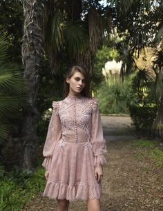 Costarellos Pre Fall - />Short Chantilly Lace Dress with Button-down Bodice and Long Sleeves Women's Runway Fashion, Women's Summer Fashion, Fashion Outfits, Church Fashion, Chantilly Lace, Lace Dress, Ready To Wear, Short Dresses, Gowns