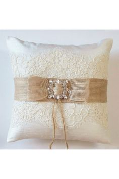 Wedding Ring Pillow in Silk with Alencon Lace, Burlap Ribbon and Rhinestone…