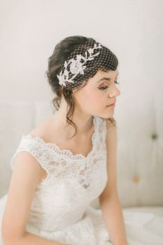 Ivory Birdcage Veil with Hand Beaded Lace Bandeau by jrosebridal