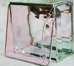 Sweet and soft pink stained glass box for your Valentines.