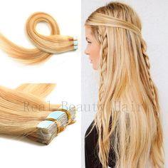 (38.30$)  Watch now  - Tape In Extensions Human Hair Cinta De Extension De Pelo Coloridas Extensiones Adhesivas Pelo Humano Colored Strands Of Hair