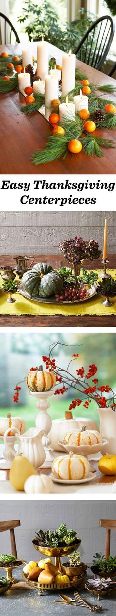 These easy Thanksgiving centerpieces will brighten up any fall table. Details: http://bit.ly/1jD08np