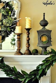 simple garden inspired christmas mantel, christmas decorations, seasonal holiday decor, wreaths