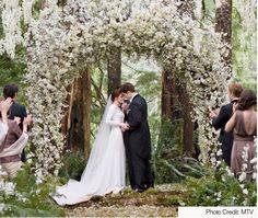Beautiful arch and woodsy wedding