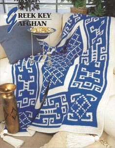Greek Key Afghan Annie's Crochet Quilt & by KnitKnacksCreations